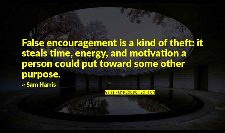 Kind Person Quotes By Sam Harris: False encouragement is a kind of theft: it