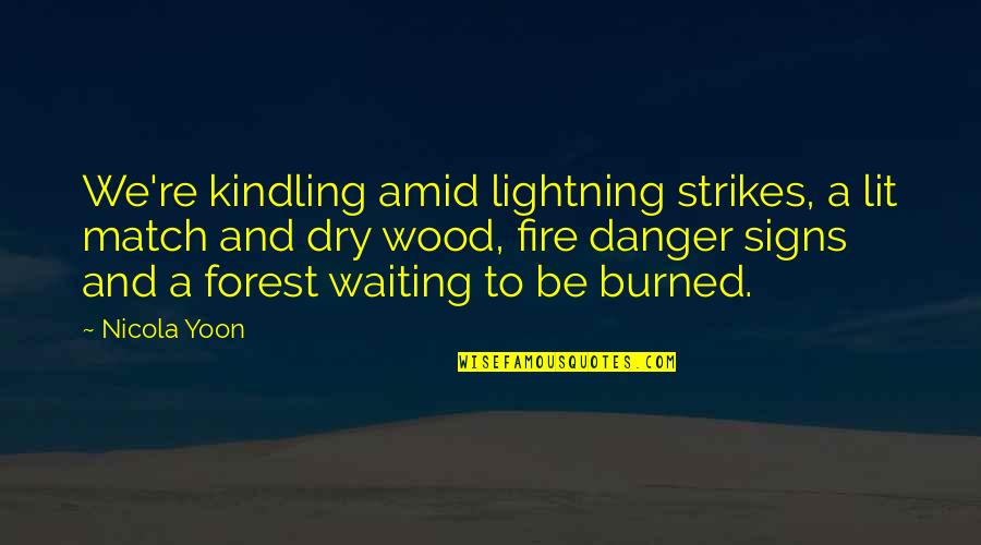 Kindling Fire Quotes By Nicola Yoon: We're kindling amid lightning strikes, a lit match