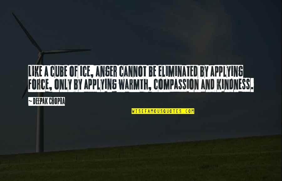 Kindness Warmth Quotes By Deepak Chopra: Like a cube of ice, anger cannot be