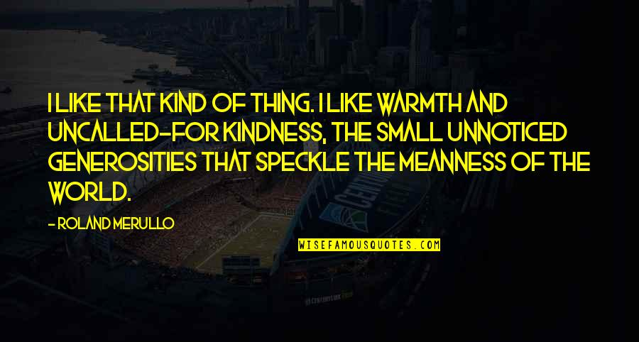 Kindness Warmth Quotes By Roland Merullo: I like that kind of thing. I like