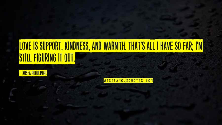 Kindness Warmth Quotes By Xosha Roquemore: Love is support, kindness, and warmth. That's all