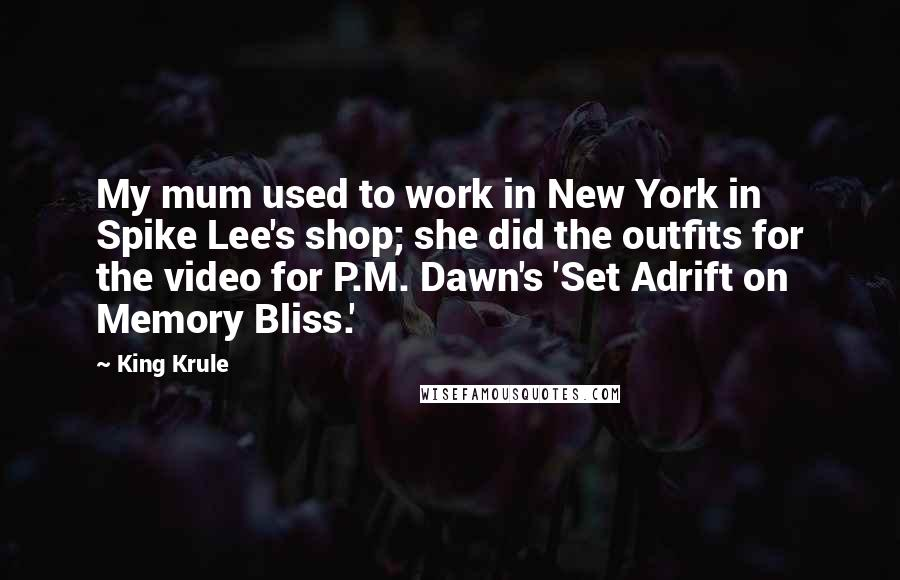 King Krule quotes: My mum used to work in New York in Spike Lee's shop; she did the outfits for the video for P.M. Dawn's 'Set Adrift on Memory Bliss.'