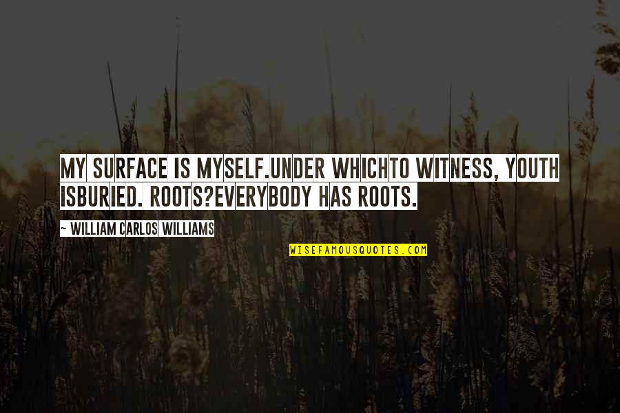 Kingdom Rush Quotes By William Carlos Williams: My surface is myself.Under whichto witness, youth isburied.
