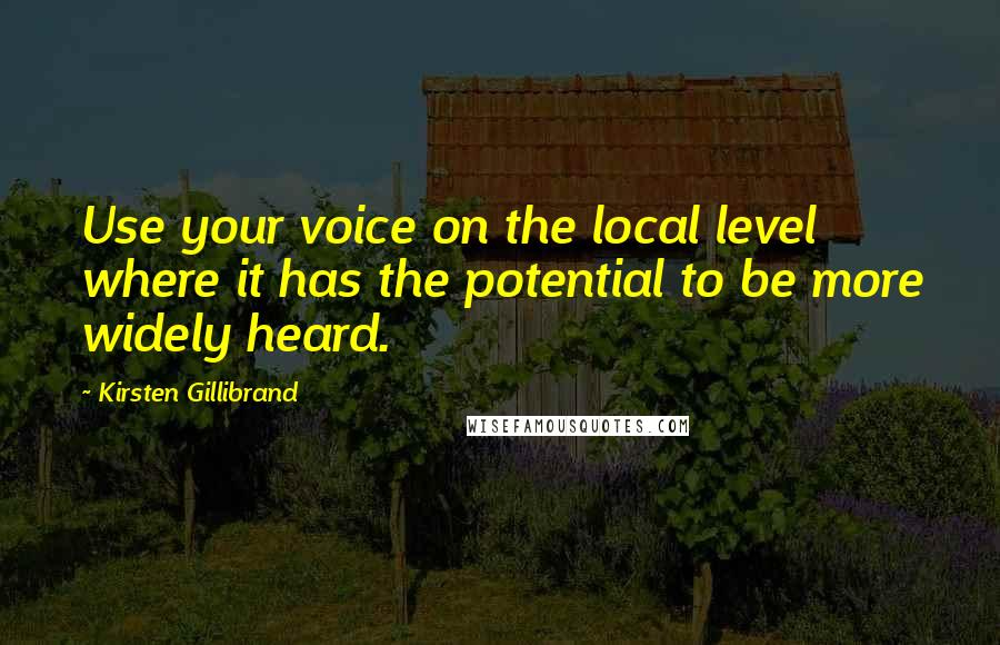 Kirsten Gillibrand quotes: Use your voice on the local level where it has the potential to be more widely heard.
