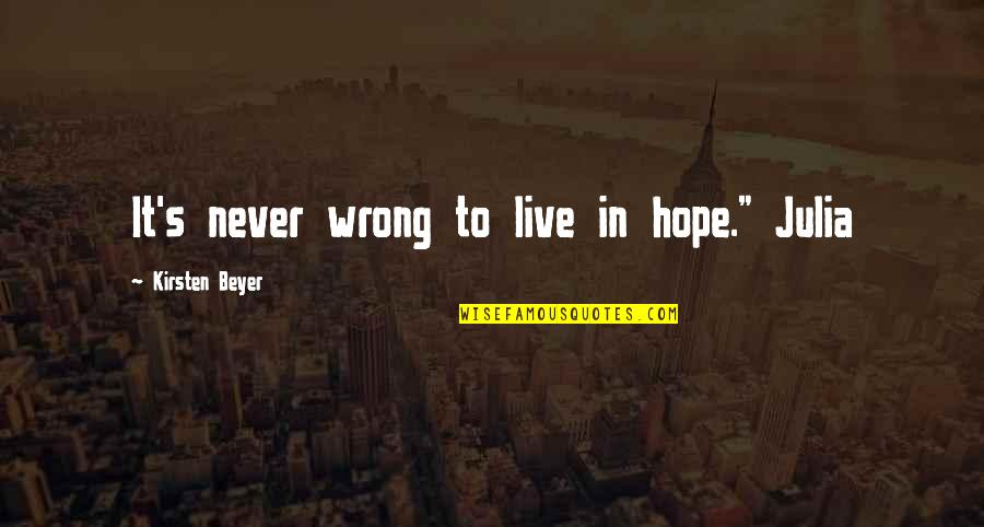 "Kirsten's Quotes By Kirsten Beyer: It's never wrong to live in hope."" Julia"