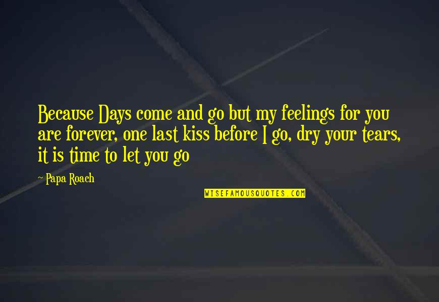 Kiss You Forever Quotes By Papa Roach: Because Days come and go but my feelings