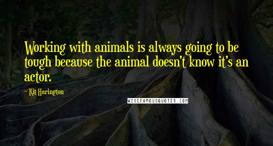 Kit Harington quotes: Working with animals is always going to be tough because the animal doesn't know it's an actor.