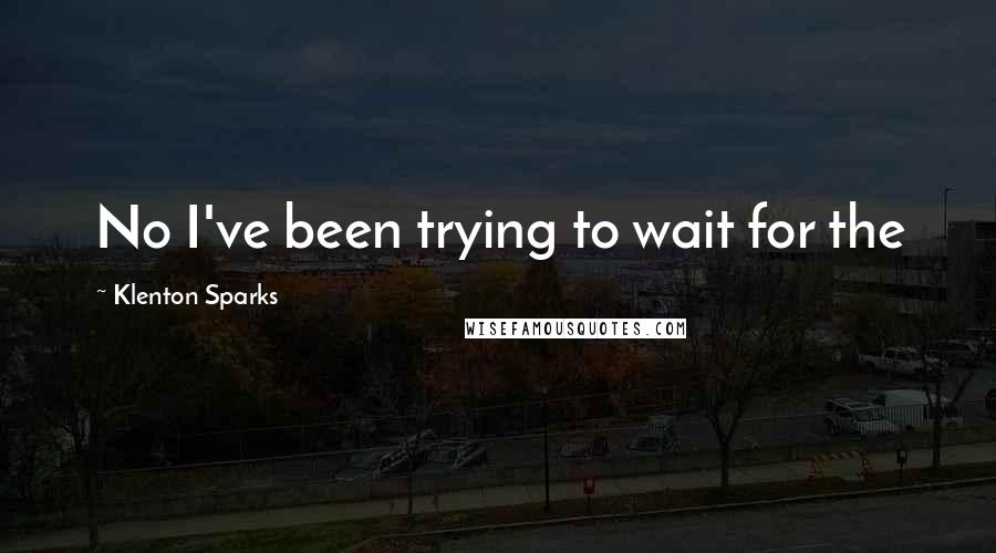 Klenton Sparks quotes: No I've been trying to wait for the