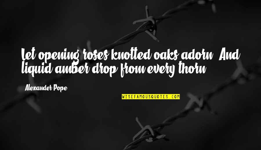 Knotted Quotes By Alexander Pope: Let opening roses knotted oaks adorn, And liquid