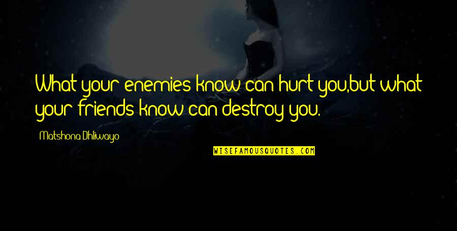 Know Your Enemy Quotes By Matshona Dhliwayo: What your enemies know can hurt you,but what