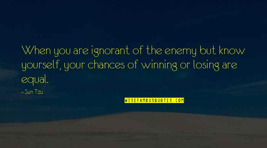 Know Your Enemy Quotes By Sun Tzu: When you are ignorant of the enemy but