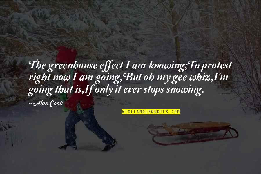 Knowing Each Other Quotes By Alan Cook: The greenhouse effect I am knowing;To protest right