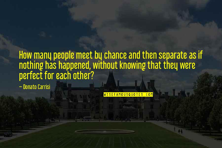 Knowing Each Other Quotes By Donato Carrisi: How many people meet by chance and then