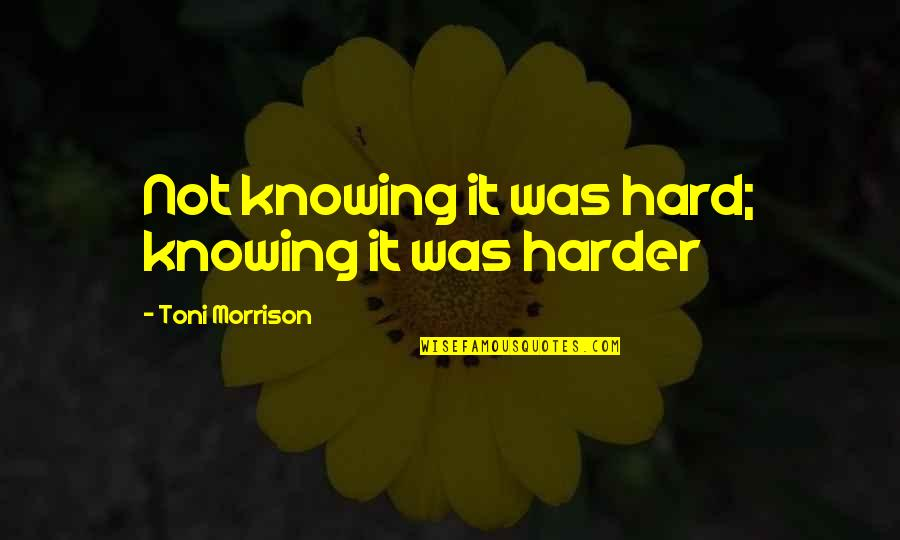 Knowing Each Other Quotes By Toni Morrison: Not knowing it was hard; knowing it was