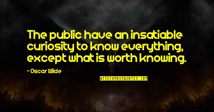 Knowing Everything Quotes By Oscar Wilde: The public have an insatiable curiosity to know