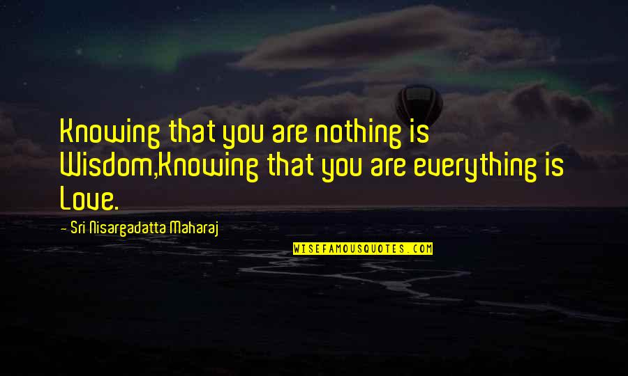 Knowing Everything Quotes By Sri Nisargadatta Maharaj: Knowing that you are nothing is Wisdom,Knowing that