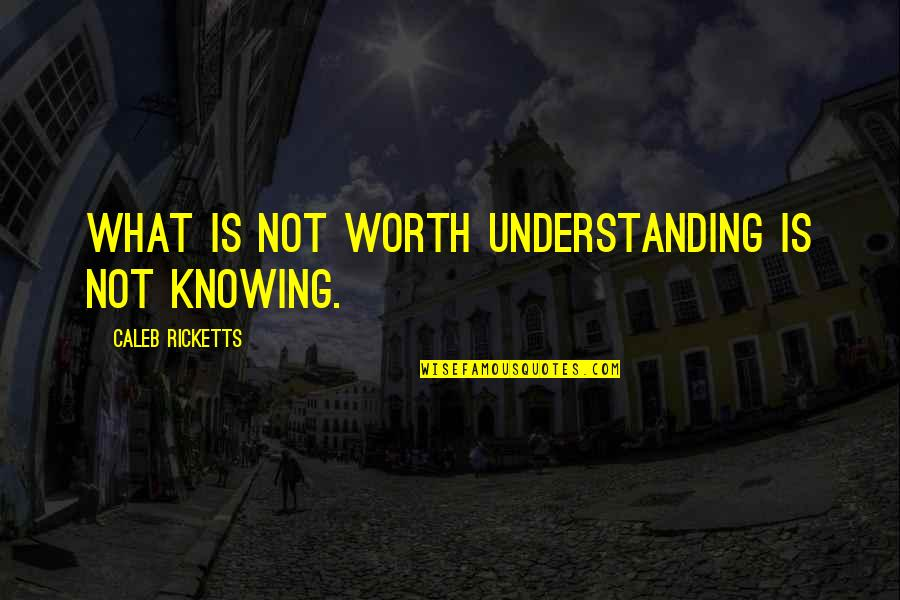 Knowing What You Are Worth Quotes By Caleb Ricketts: What is not worth understanding is not knowing.