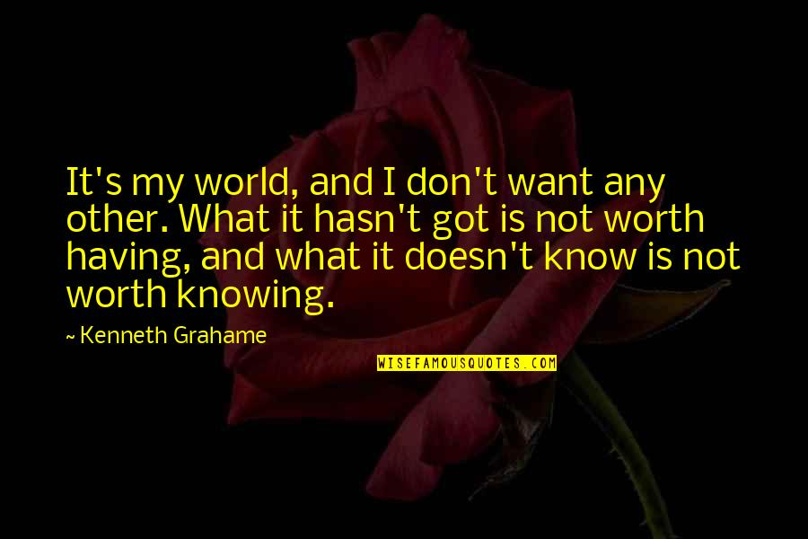 Knowing What You Are Worth Quotes By Kenneth Grahame: It's my world, and I don't want any
