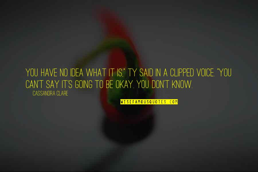 """Knowing What You Have Quotes By Cassandra Clare: You have no idea what it is,"""" Ty"""