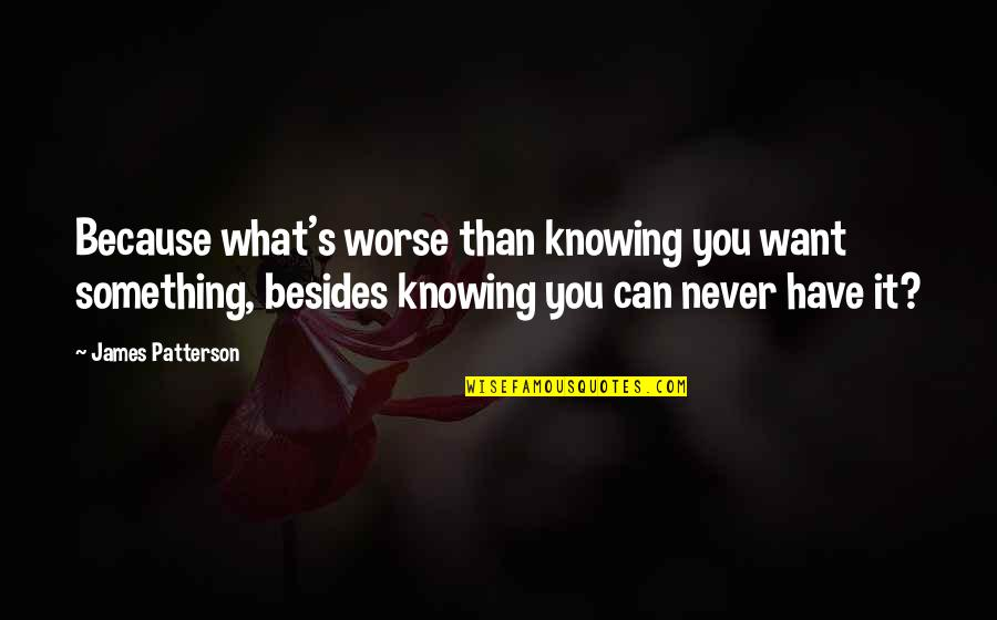 Knowing What You Have Quotes By James Patterson: Because what's worse than knowing you want something,