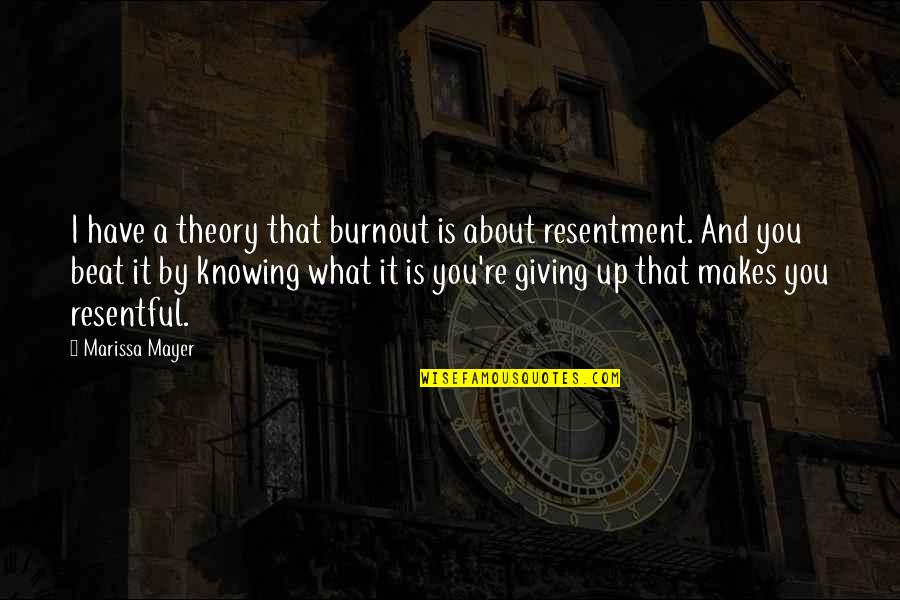 Knowing What You Have Quotes By Marissa Mayer: I have a theory that burnout is about