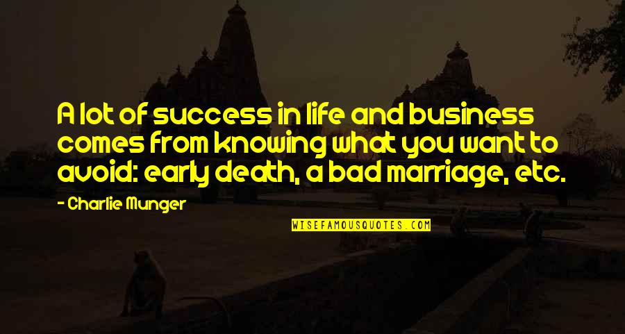 Knowing What You Want To Be In Life Quotes By Charlie Munger: A lot of success in life and business
