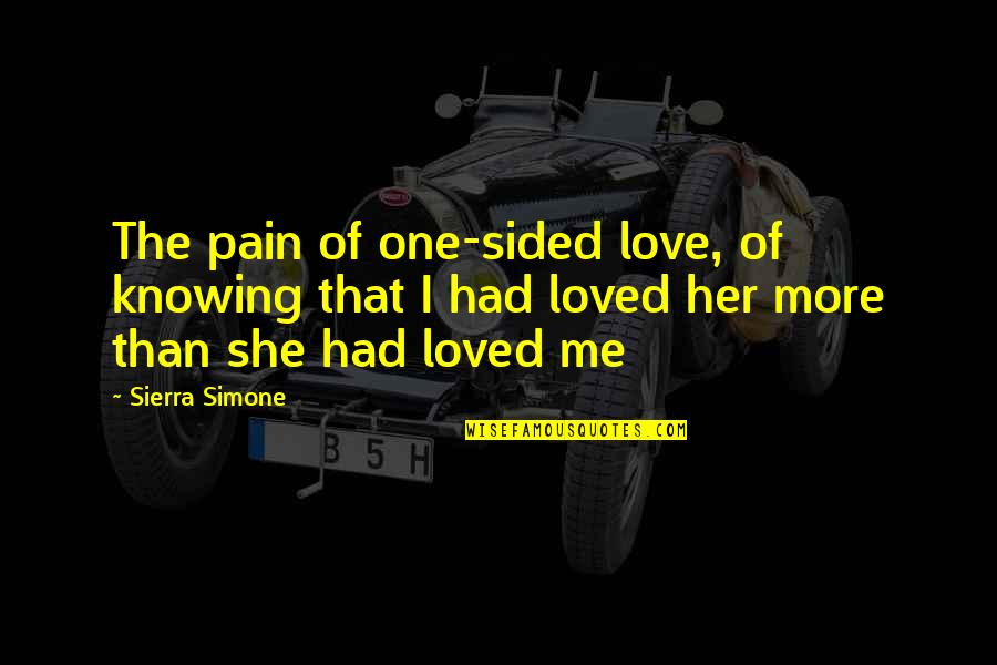 Knowing You're Loved Quotes By Sierra Simone: The pain of one-sided love, of knowing that