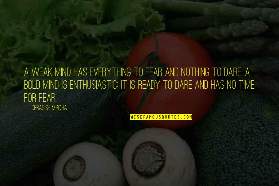 Knowledge And Fear Quotes By Debasish Mridha: A weak mind has everything to fear and