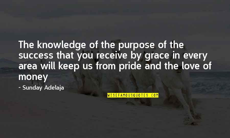 Knowledge And Love Quotes By Sunday Adelaja: The knowledge of the purpose of the success