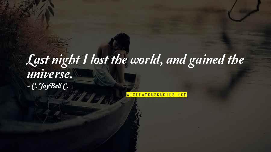 Knowledge Gained Quotes By C. JoyBell C.: Last night I lost the world, and gained