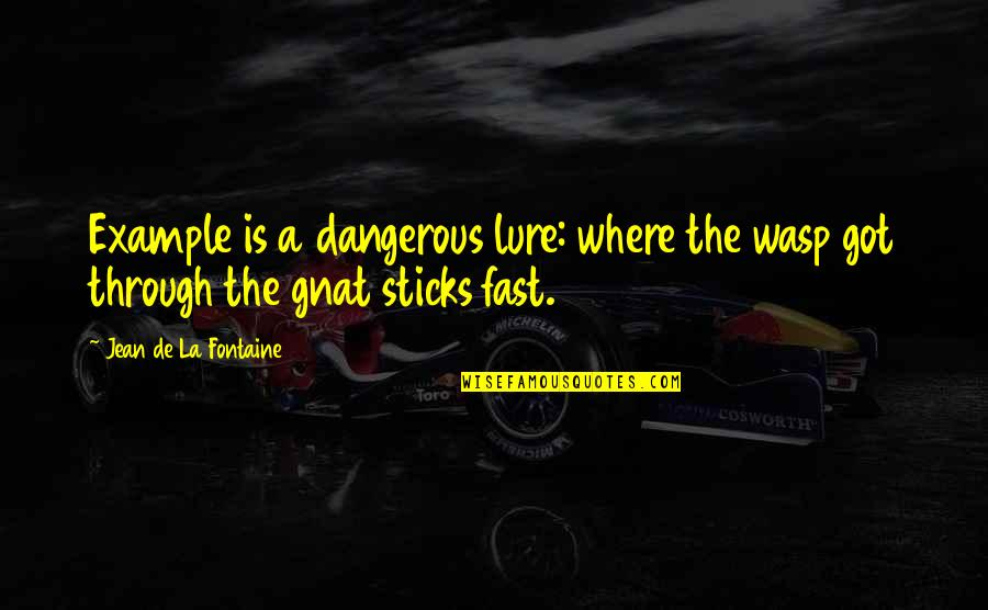Knowledge Is Dangerous Quotes By Jean De La Fontaine: Example is a dangerous lure: where the wasp