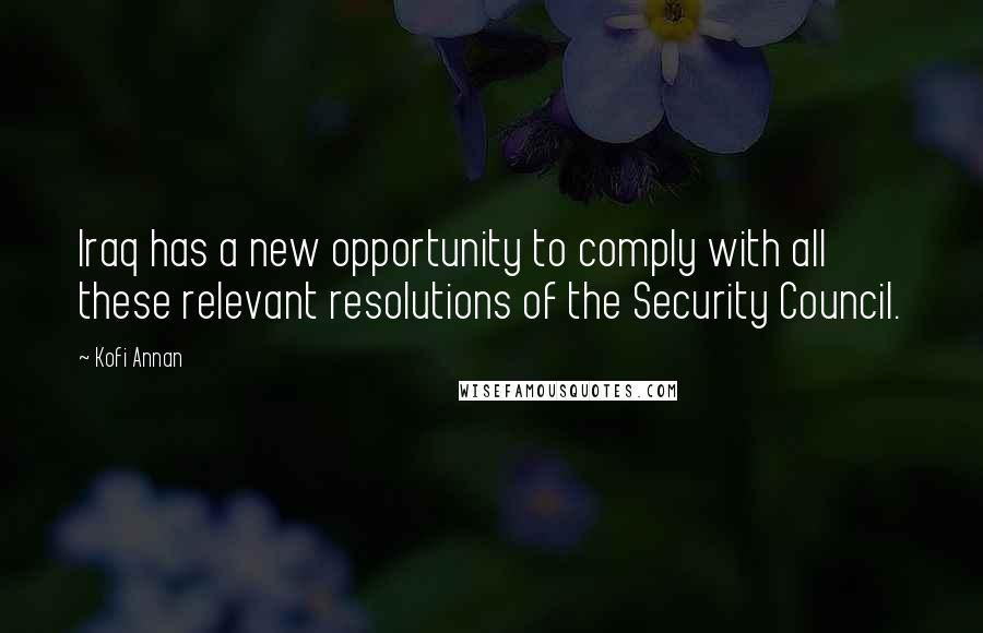 Kofi Annan quotes: Iraq has a new opportunity to comply with all these relevant resolutions of the Security Council.