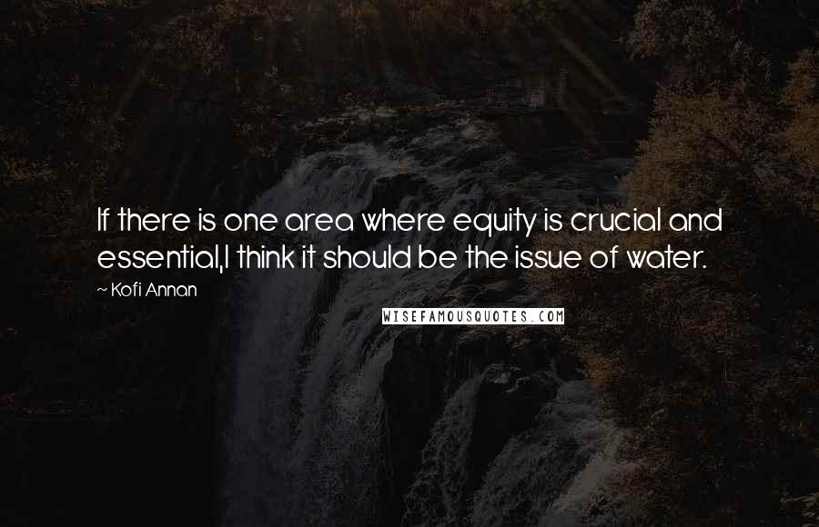 Kofi Annan quotes: If there is one area where equity is crucial and essential,I think it should be the issue of water.