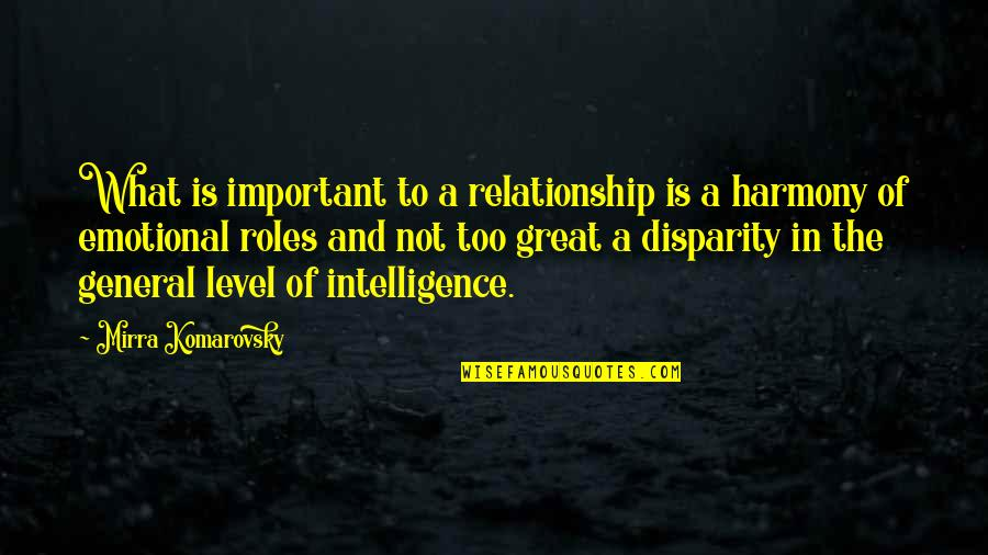Komarovsky Quotes By Mirra Komarovsky: What is important to a relationship is a