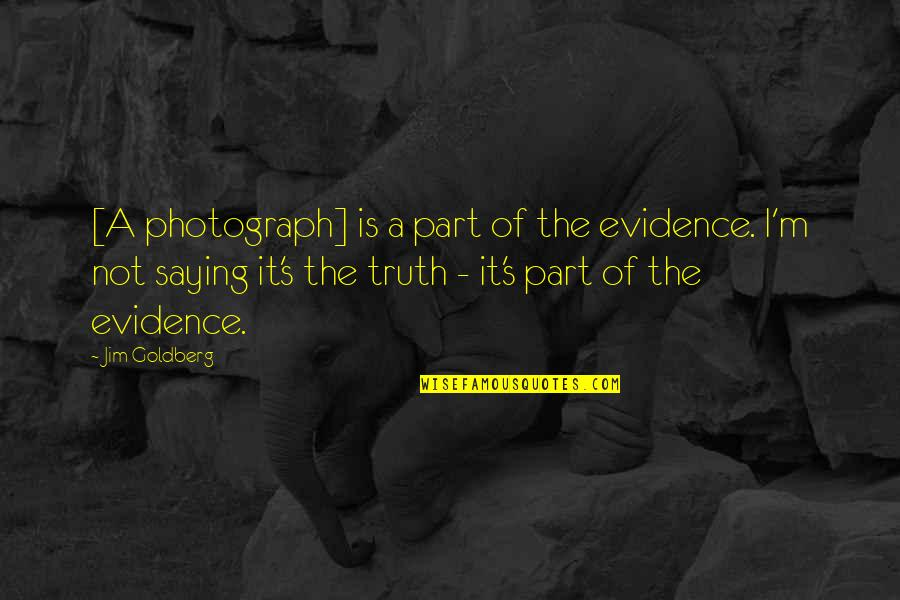 Kontrabida Quotes By Jim Goldberg: [A photograph] is a part of the evidence.
