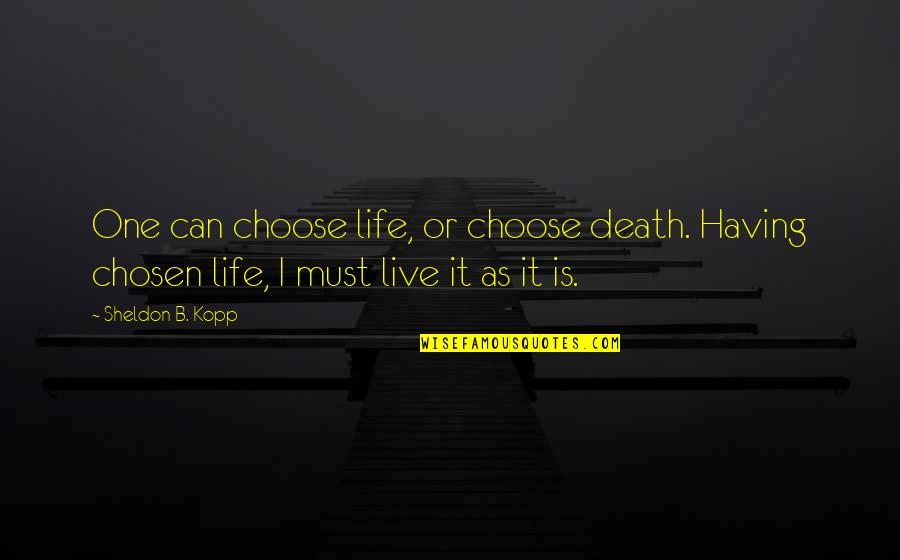 Kopp Quotes By Sheldon B. Kopp: One can choose life, or choose death. Having