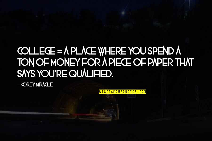 Korey Quotes By Korey Miracle: College = A place where you spend a