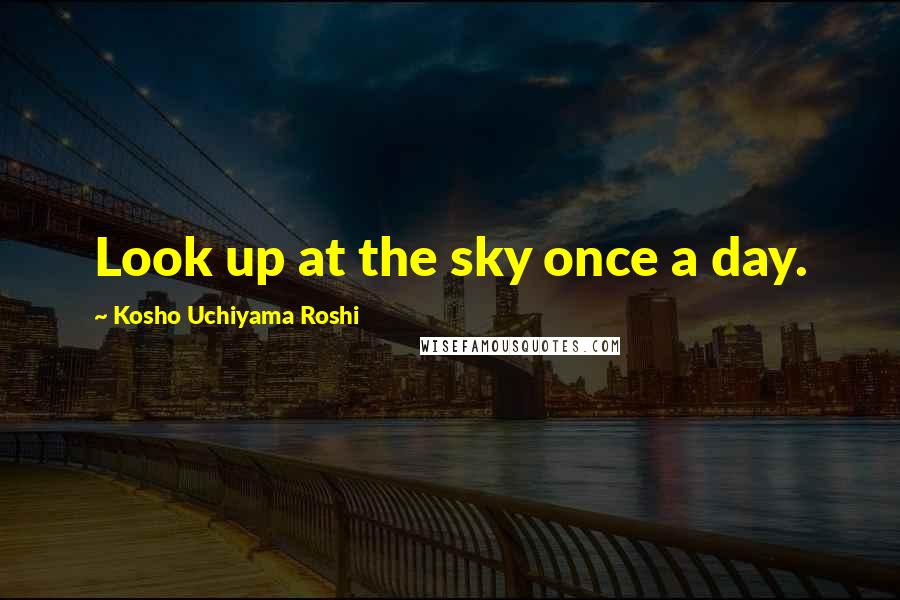 Kosho Uchiyama Roshi quotes: Look up at the sky once a day.
