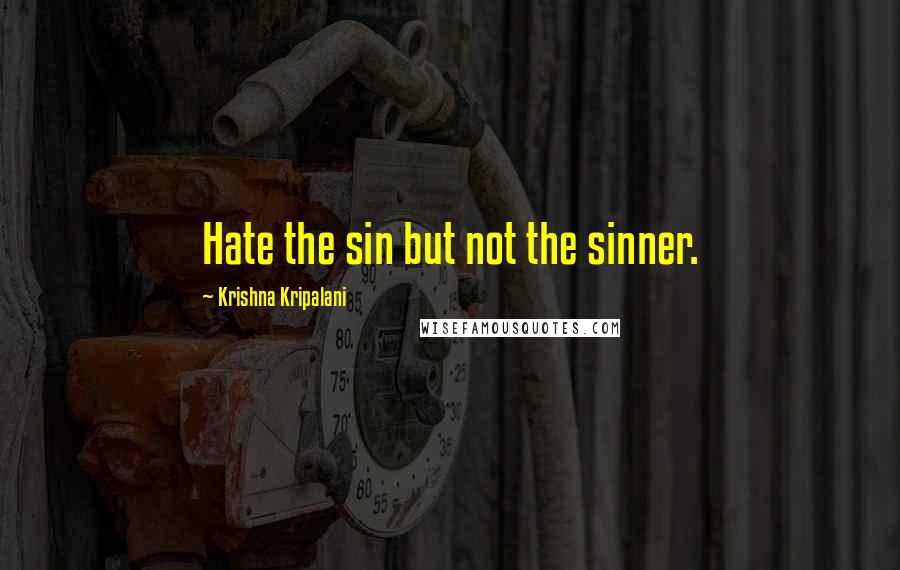Krishna Kripalani quotes: Hate the sin but not the sinner.
