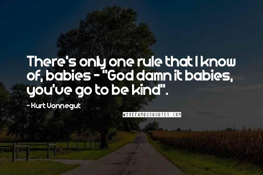 """Kurt Vonnegut quotes: There's only one rule that I know of, babies - """"God damn it babies, you've go to be kind""""."""