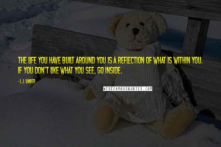 L.J. Vanier quotes: The life you have built around you is a reflection of what is within you. If you don't like what you see, go inside.