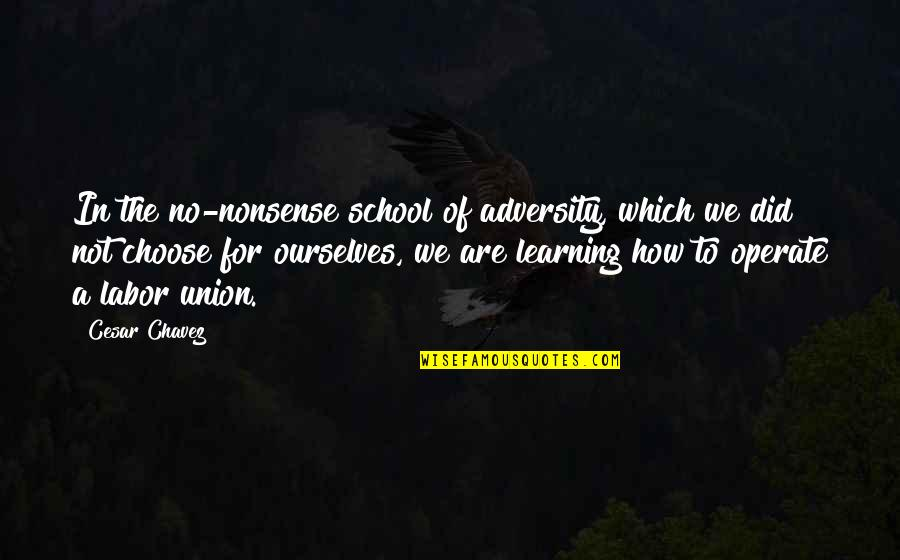 Labor Unions Quotes By Cesar Chavez: In the no-nonsense school of adversity, which we