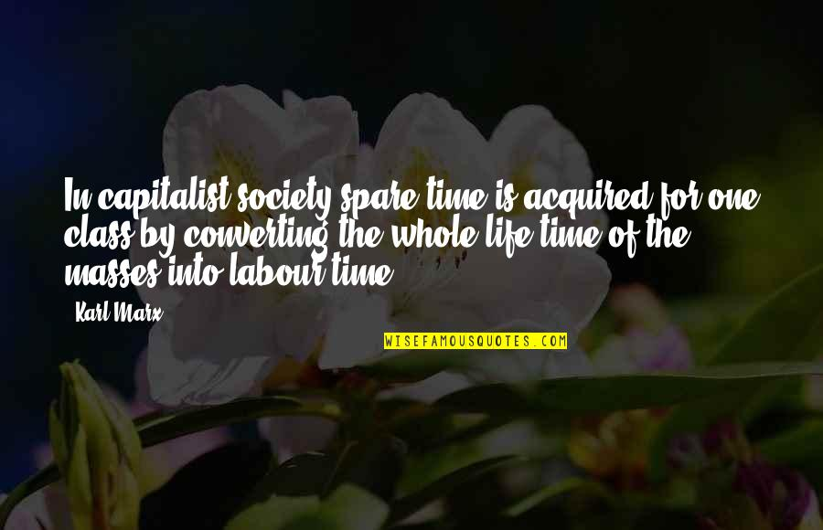 Labour'd Quotes By Karl Marx: In capitalist society spare time is acquired for