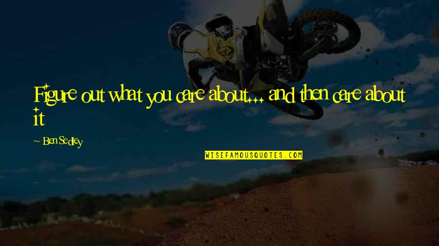 Lac Quotes By Ben Sedley: Figure out what you care about... and then