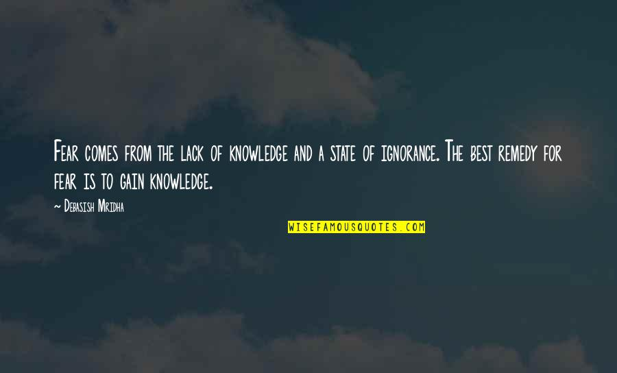 Lack Of Knowledge Quotes By Debasish Mridha: Fear comes from the lack of knowledge and