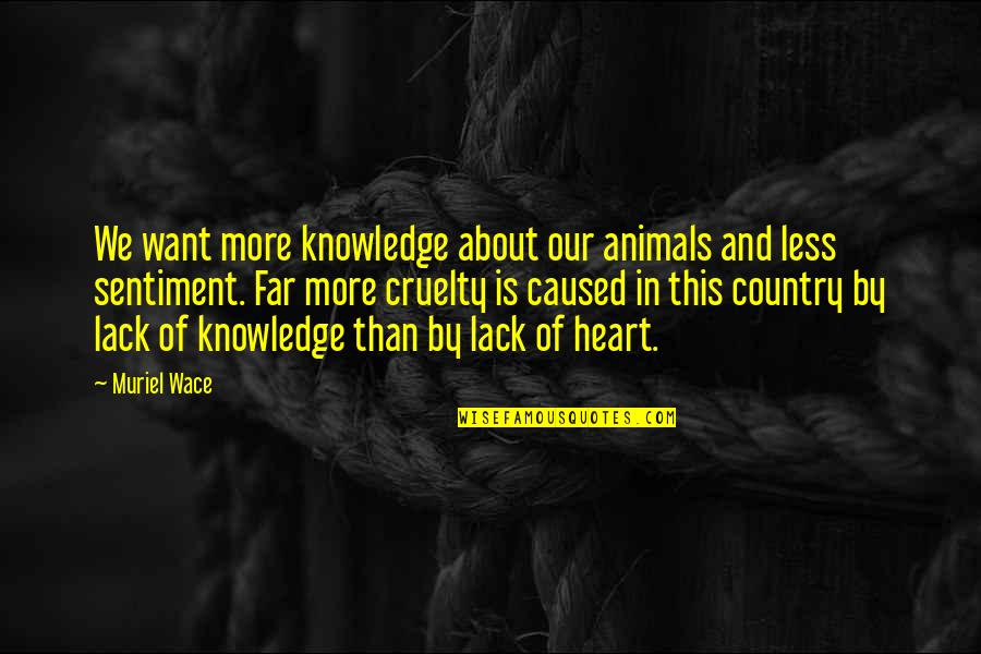 Lack Of Knowledge Quotes By Muriel Wace: We want more knowledge about our animals and