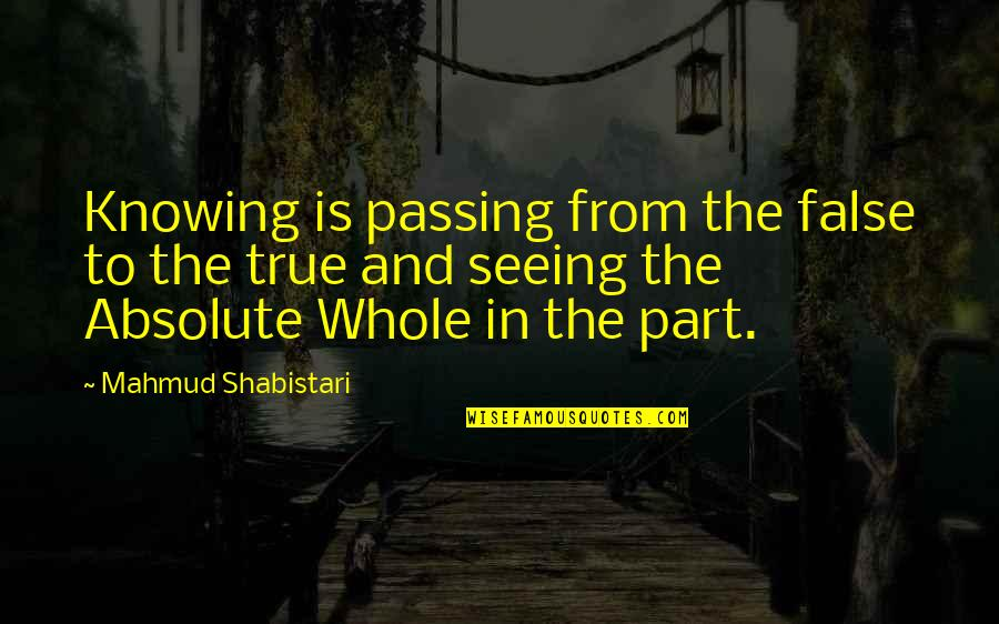 Lady In Red Quotes By Mahmud Shabistari: Knowing is passing from the false to the