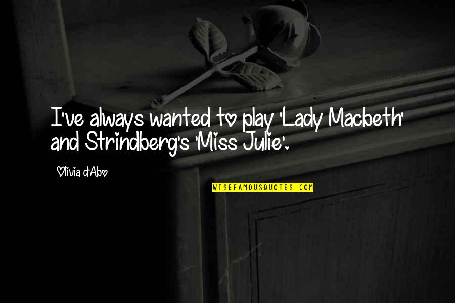 Lady's Quotes By Olivia D'Abo: I've always wanted to play 'Lady Macbeth' and