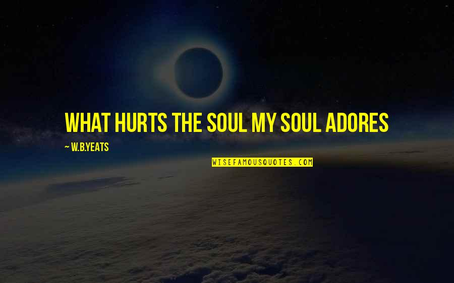 Lady's Quotes By W.B.Yeats: What hurts the soul My soul adores
