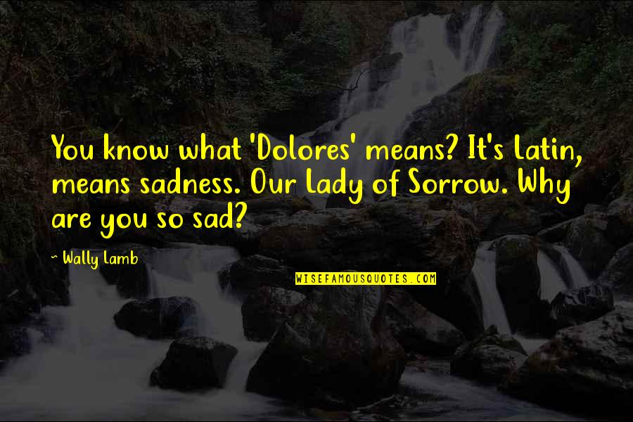 Lady's Quotes By Wally Lamb: You know what 'Dolores' means? It's Latin, means